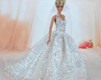 Handmade Dolls Clothes White Wedding Dress Party Gown With Veil For Barbie Dolls