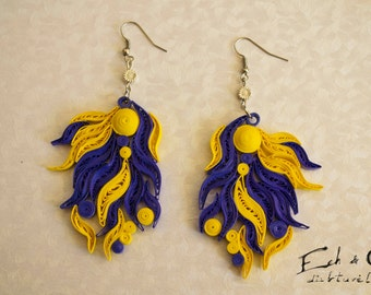 Yellow blue paper quilled eco-friendly dangle earrings
