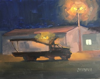 Resting for the night  - Original contemporary Landscape painting - Oil Painting