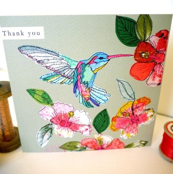 Hummingbird-Thank you- Greeting Card- handfinished