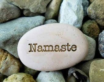 SMALL Spirit stones Namaste, I bow to the devine in you, small clay mantras