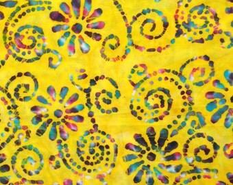 Yellow batik fabric by the yard - yellow batik by the yard  - #16239