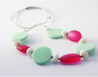 Mint Green Pink and White Resin Bead Necklace on Silver Waxed Cotton
