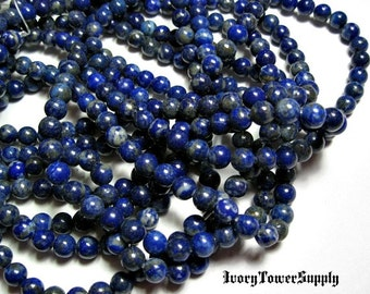 1 Strand 6mm Lapis Lazuli Beads, Gemstone Beads, Blue Beads, Round Beads, Semi Precious Beads, Natural Stone Beads