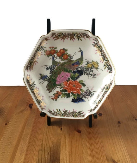 Vintage peacock plate decorative porcelain Yamaji Japan asian birds and flowers