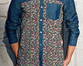 Blue Jeans with Front Cotton Printed - Shirt - Leean Collection