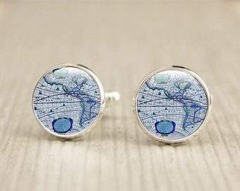 Map Cufflinks - Blue Map Cufflinks - Antique Map Cufflinks (map 2)