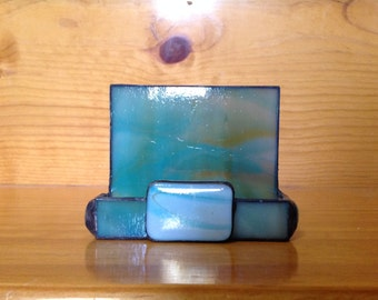 Stained Glass Wispy Green and Tan Business Card Holder