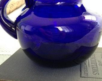 Cobalt Blue Hand Blown Glass Pitcher