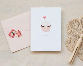 Love / Friendship Card     Pink Cupcake