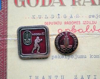 USSR Olympic 2 pins //Soviet badges//Vintage //Moscow Olympic Games //Bear//Russian Bear//Animation//Cartoon pin//Sport//Ball//Mishka