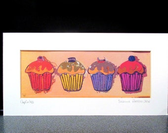 Liquorice Allsorts....cupcakes. Printed on a heavy canvas sheet.....from one of my original paintings.Last one...no more printed