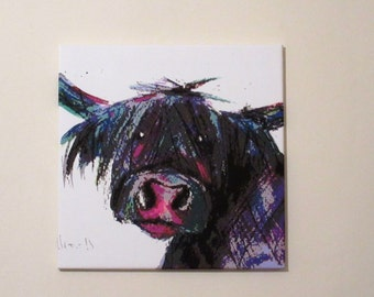 Hippy Highland Moo.  Canvas print from an original painting by Suzanne Patterson. 20 x 20 inches. Ready to hang.