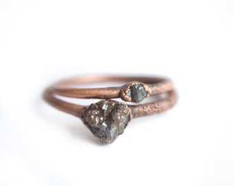 Raw diamond ring | Tiny rough diamond engagement ring | Tiny diamond ring | Conflict free diamond ring | Ethical engagement ring