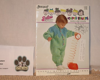 """Knitting pattern book with 5 patterns for chunky weight yarn, several items have large pointed collar that can make them look """"elf like""""!"""