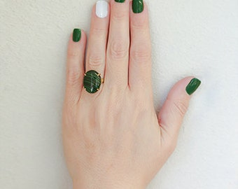 14k solid gold Green Malachite stone ring. fancy ring.