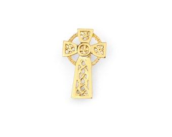 14k Solid Yellow Gold Irish Cross Pendant