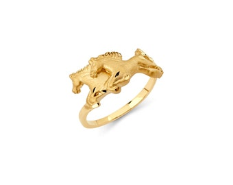 14K solid yellow gold double horse/ Running horses ring