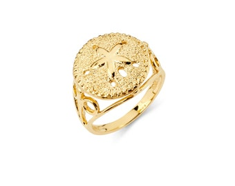 Solid 14K Yellow Gold Sand Dollar Ring