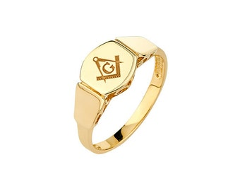 14K Yellow Gold Mason Ring, Mason Ring, Mason Jewelry, Pinkie Ring, Masonic Ring, Masonic Jewelry, Gold Ring