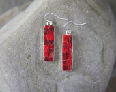 Mosaic Earrings: Deep Red Bling