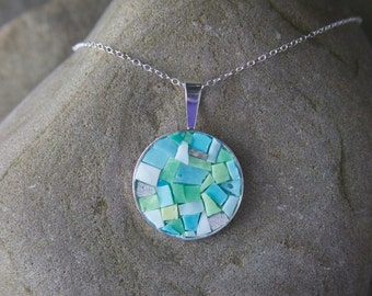 Mosaic Necklace: Turquoise Bling