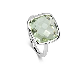 Halo Ring - Square Green Quartz & Sterling Silver