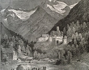 Antique Lithograph of Germany - Taufers - Old German Drawing - Antique Landscape Picture from 1800s - German Castle