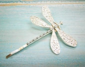 One Silver Plated Dragonfly Bobby Pin, Dragonfly Hair Clip, Boho Hair Clip, Boho Hair Accessory, Wedding Hair Accessory, Rustic Wedding