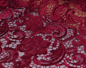 Floral Venise Lace Fabric - Maroon Lace Fabric - Dark Red Lace fabric - Floral Maroon Lace Fabric - Maroon Floral Lace Fabric - L209