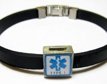 Blue Diabetic Type 1 Medical Alert Link With Choice Of Colored Band Charm Bracelet