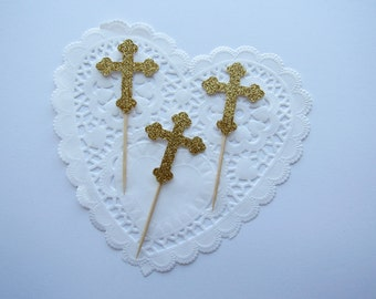Gold Cross Cupcake Toppers, Silver Cross Cupcake Toppers, Baptism Cupcake Toppers, Communion Cupcake Toppers, Religious Cupcake Toppers