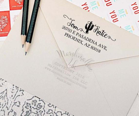 Custom Address Stamp Return Address Stamp Calligraphy Wedding
