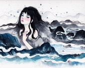 Chinese style Watercolor Original Painting. With mountains.