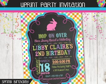 Easter Birthday Invitation - Spring Birthday Invitation - Chalkboard Pastel Plaid - Spring Birthday Party