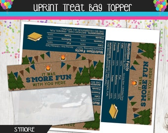 Campfire Bonfire Treat Bag Topper - Smores Favor Bag - Camping Birthday - Printable - Instant Download