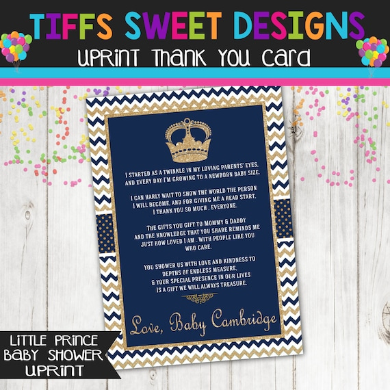 Blue And Gold Prince Baby Shower Thank You Card