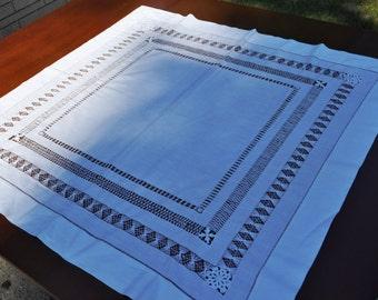 """White drawn work bridge cloth tablecloth tea cloth 34.5"""" x 34.5"""""""