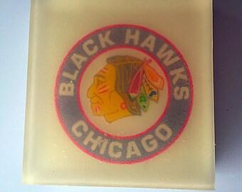 Chicago Black Hawks soap-image imbed soap,Chicago gift, Hockey gift, cool water scent, vegan, gift, stocking stuffer for men