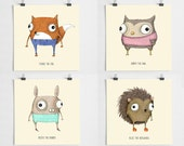 Pack of 4 Forest Critter mini prints