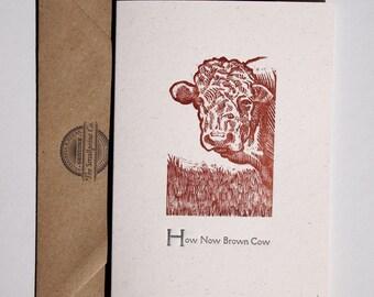 Cow Letterpress Card