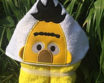 Bert 3D Hooded Bath Towel, Sesame Street Character ,READY TO SHIP