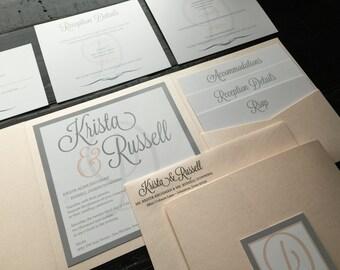 Pocket Wedding Invitation; Coral and Grey