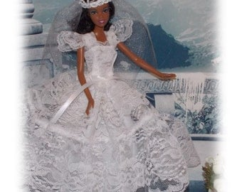 Princess Wedding Dress & Veil.  Handmade Fashion Doll Clothes by JanCo. Fits Old and  New Dolls.