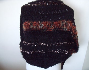 solid black triangle shawl with fluff and glitter courses