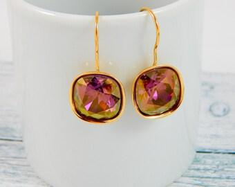 Swarovski Purple Earrings/Swarovski Earrings/Swarovski Dangle Earrings/Swarovski Online/Swarovski Earring/Valentine Gift for Her