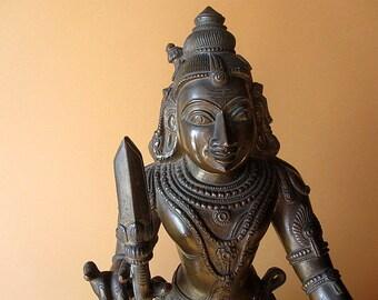 Exquisite Hindu bronze depicting Ayannar.