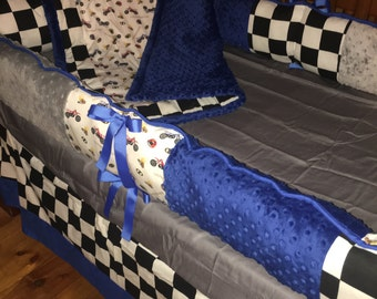 TODAY ONLY SALE***Motorcross and minky crib bedding