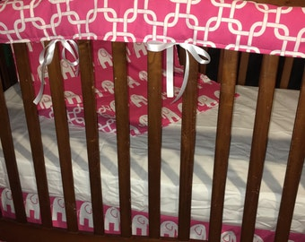 SALE***Hot pink and white Elephant/Dot/Gotcha/Minky 4 piece crib set (bumperless)