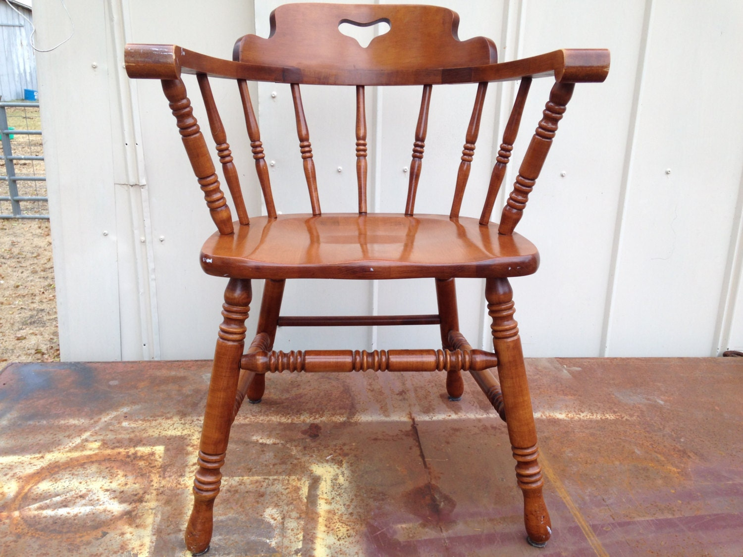 vintage tell city captain s chair solid rock maple arm by